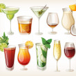 Collection of alcohol coctails and other drinks. - Grafika wektorowa