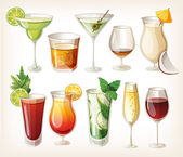 Collection of alcohol coctails and other drinks. — ストックベクタ