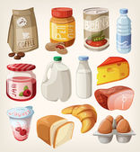 Collection of food and products that we buy or eat every day. — ストックベクタ