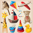 Set of colorful vintage toys for kids. — 图库矢量图片
