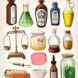 Stock Vector: Set of vintage apothecary and medical vector supplies
