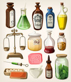 Set of vintage apothecary and medical vector supplies — Stock Vector