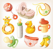 Set of design elements for baby shower. Vector illustration. — Stock Vector