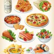 Set of traditional food icons. - Stok Vektör