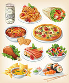 Set of traditional food icons. — ストックベクタ