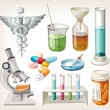 Stock Vector: Set of supplies used in pharmacology for preparing medicine.