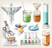 Conjunto de fontes usadas em farmacologia, para a preparação de medicina. — Vetorial Stock