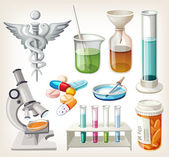 Set of supplies used in pharmacology for preparing medicine. — Vetorial Stock