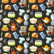 Seamless pattern with kitchen tools and cooking icons. - Imagens vectoriais em stock