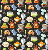 Seamless pattern with kitchen tools and cooking icons. — Stock Vector