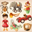 Set of colorful vintage toys for kids. — Stock Vector #24475929