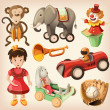 Stock Vector: Set of colorful vintage toys for kids.