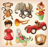 Set of colorful vintage toys for kids. — ストックベクタ