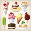 Set of colorful tasty isolated ice cream. — Stock Vector