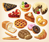 Set of pies and flour products from bakery or pastry shop — ストックベクタ