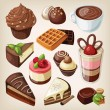 Set of chocolate sweets, cakes and other chocolate food — Stock Vector #29345565