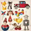 Set of colorful vintage christmas toys for kids. — Vector de stock  #30087117