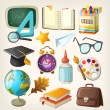Set of school items. Back to school — Stock Vector