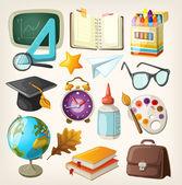 Set school items. terug naar school — Stockvector