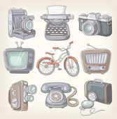 Set of vintage items icons — Stock Vector