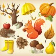 Set of elements and items that represent autumn — Stock Vector