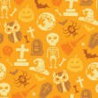 Stock Vector: Seamless pattern with halloween objects.