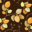 Repeating pattern with swirling branches with autumn leaves — Stock Vector #32008977