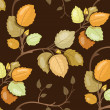 Repeating pattern with swirling branches with autumn leaves — Stock Vector