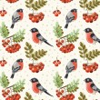 Seamless autumn and winter pattern with bullfinch and rowan branches — Stock Vector