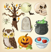 Set of colorful items for the day of the dead - halloween. — Stock Vector