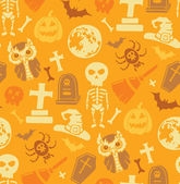 Seamless pattern with halloween objects. — Stock Vector