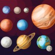 Set of planets of solar system — Stock Vector