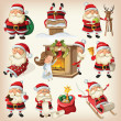 Stock Vector: Set of Santa Clauses ready for christmas