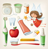 Set of items for keeping your teeth healthy — 图库矢量图片