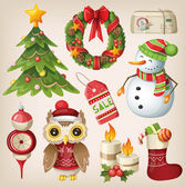 Set of christmas items and characters — Stock Vector