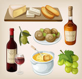 Set of traditional french drinks and appetizers — Stock Vector