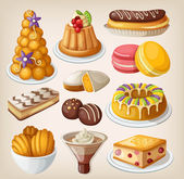 Set of traditional french desserts — Stock Vector