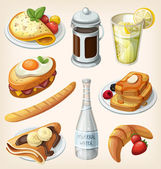 Set of traditional french breakfast elements and dishes — ストックベクタ
