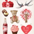 Set of romantic items for valentine day — Stock Vector