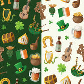 Pattern for saint patrick day with traditional irish items — Stock Vector