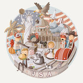 Plate design with items from USA — ストックベクタ