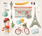 Set of french items — Stock Vector
