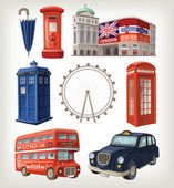 Famous London sights and retro elements of city architecture — ストックベクタ