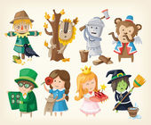 Set of toy personages from fairy tales — Stock Vector
