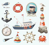 Set of fishing items — Stock Vector