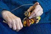 Hand knitting. — Stock Photo