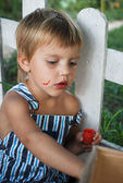 Little boy painting paints — Stok fotoğraf