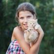 Lovely girl with cute kitten — Stockfoto