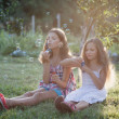 Siblings blowing soap bubbles — Stock Photo