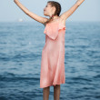 Beautiful Girl on The Pier. Sea — Stock Photo